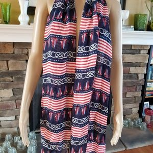 Talbots nautical scarf sailing ropes patriotic